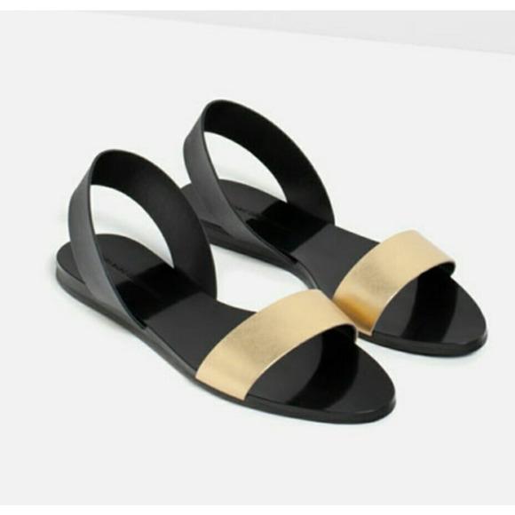 ZARA Flat Metallic Slingback Leather Sandals Black